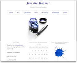 Screenshot of Julie Ann Kodmur's web site